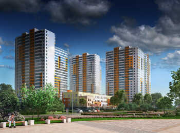 Панорамные виды на жилые корпуса Up-квартала Комендантский